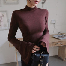 Spring Plain Wine Red Womens T-shirts Long Sleeve Flare Split Sleeve Female Undershirt Lady Tops 2018 Women Clothes RWS175070(China)