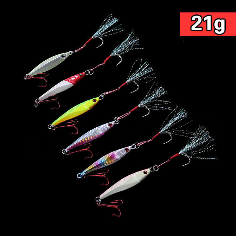 6pk 21g 7cm Glow Butterfly Jigs Knife Slow Jig Fishing Lures Assit jig Treble Hooks Laser Luminous Process with Hook Mixed Color