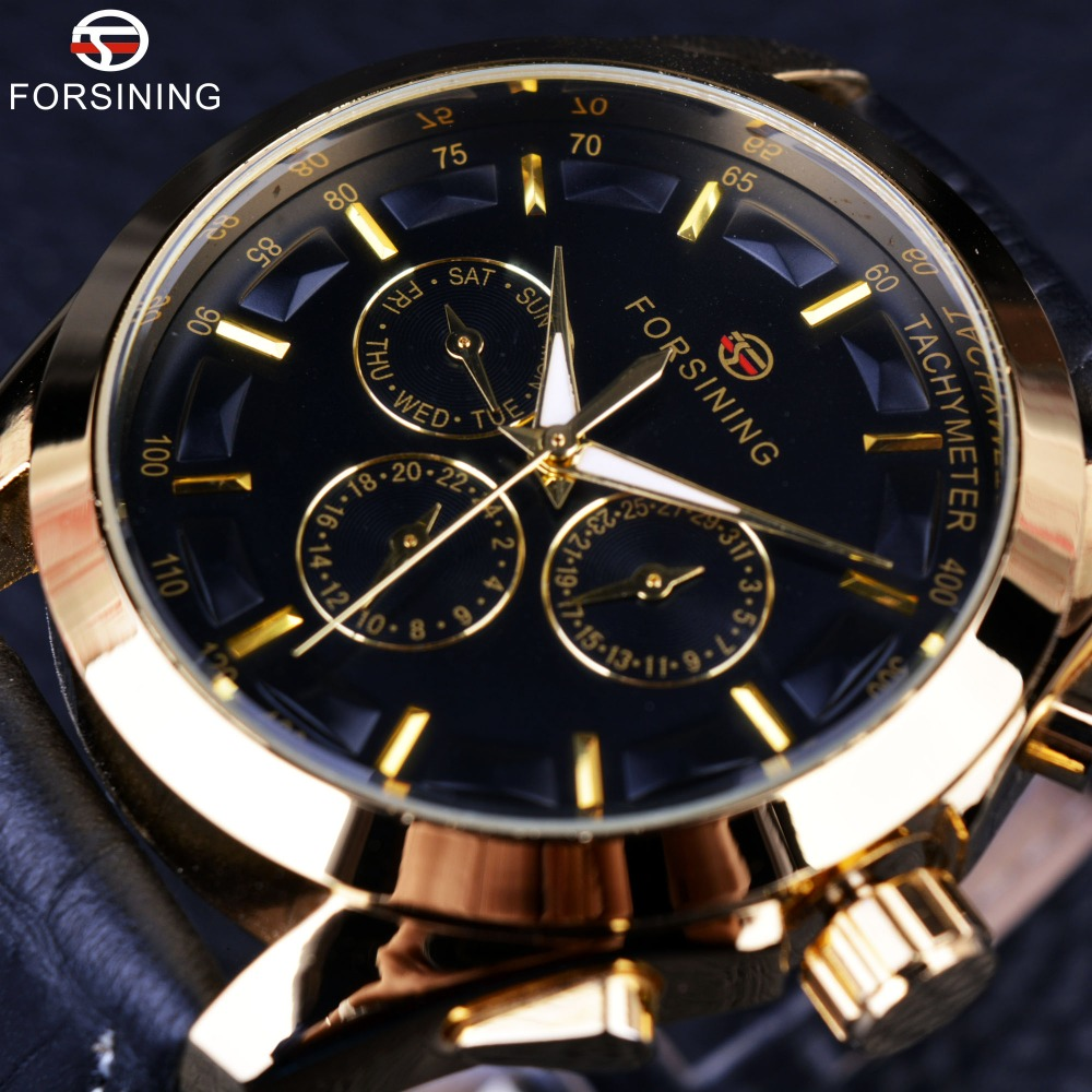 Forsining 2016 Retro Fashion Designer Three Dial Decoration Genuine Leather Golden Men Luxury Brand Automatyczne zegarki mechaniczne