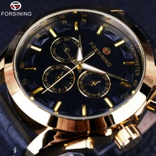 Forsining 2016 Retro Fashion Designer Three Dial Decoration Genuine Leather Golden Men Luxury Brand Automatic Mechanical