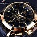 Forsining 2016 do Desenhador de Moda Retro Três Dial Decoração Homens Marca De Luxo Automático Relógios Mecânicos de Ouro De Couro Genuíno