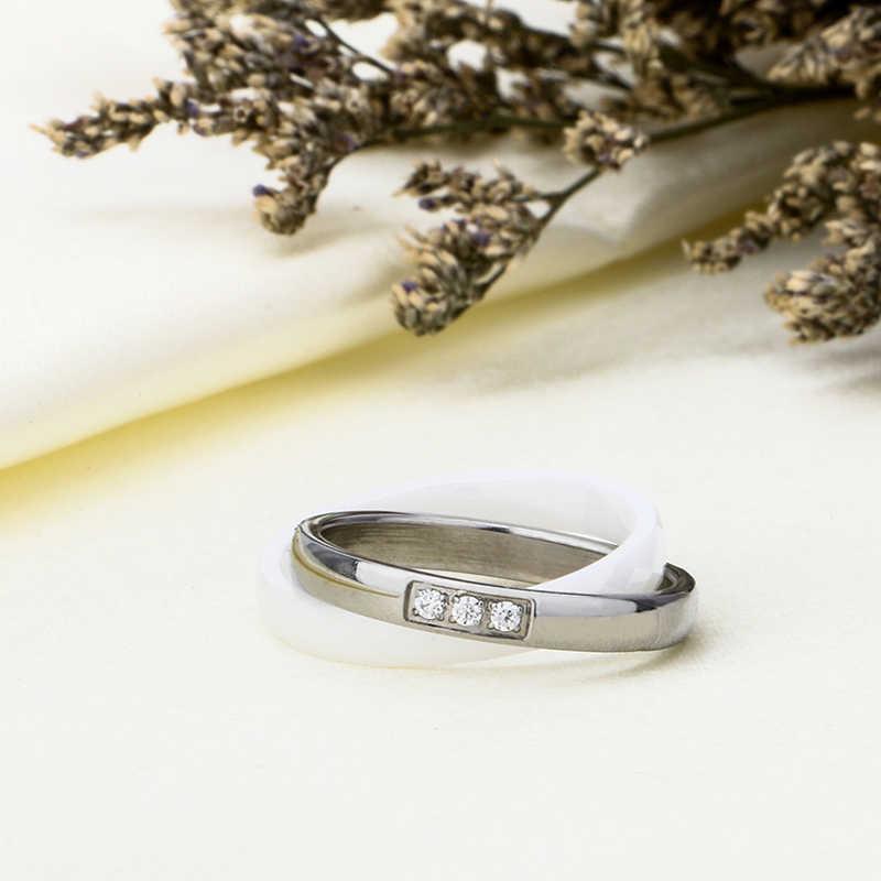 خاتم مزدوج كريستال حجر الراين الفولاذ المقاوم للصدأ و خاتم من السيراميك للنساء فتاة مجوهرات الأزياء حفل زفاف مجوهرات صحية
