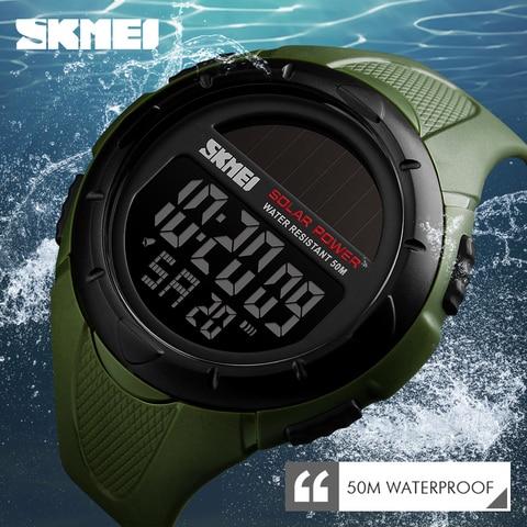 SKMEI Solar Power Men Sports Watches Waterproof LED Digital Watch Men Luxury Brand Electronic Mens Wrist Watch Relogio Masculino Multan