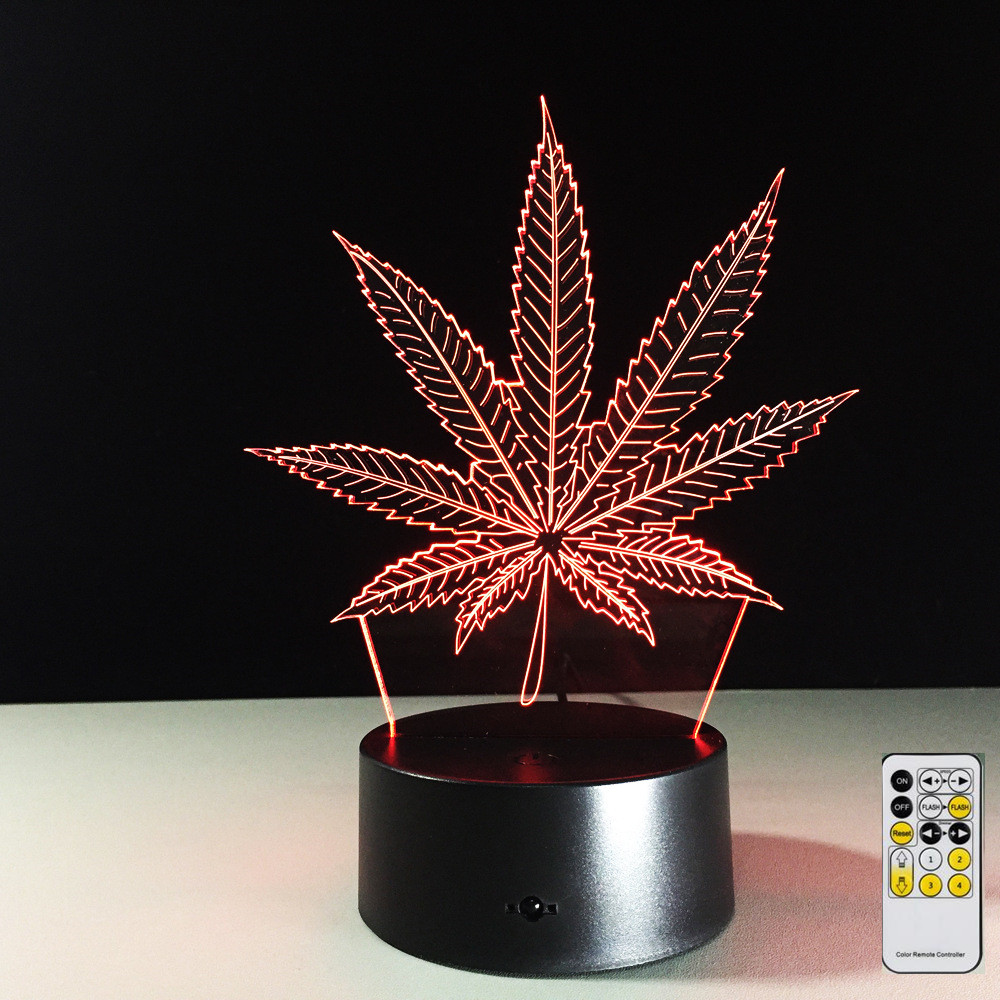 Remote Maple Leaf 3D Visual Illusion Lamp Transparent Acrylic Night Light LED Lamp 7 Color Changing Touch Table Lamp Lava Lamp color changing dolphin shape 3d visual led night light