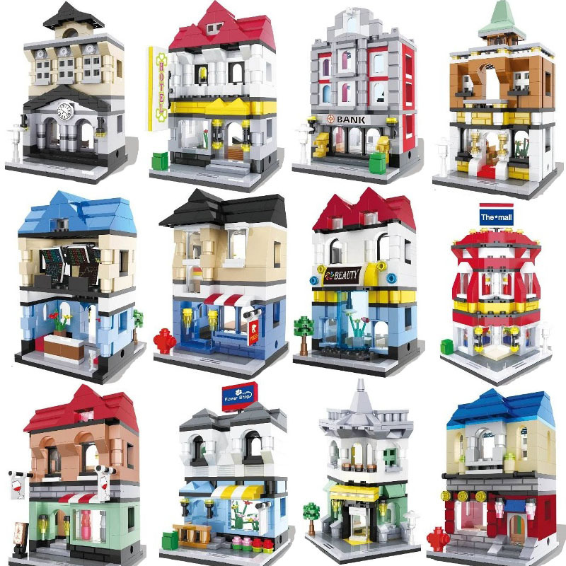 City Series Mini Street Model Store Shop Bank Hotel Bar Opera House Restaurant Building Block Toys For Children Christmas Gift neon sign for donuts bar cakes cave real glass tube beer pub restaurant signboard store display shop light signs 17 14