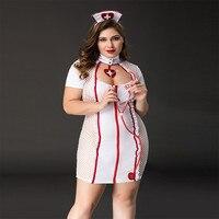 Women Plus Size Babydoll Lingerie Hot Erotic Sexy Nurse Cosplay Costume Underwear Sexy Porno Lingerie Plus Size Sleepwear Dress