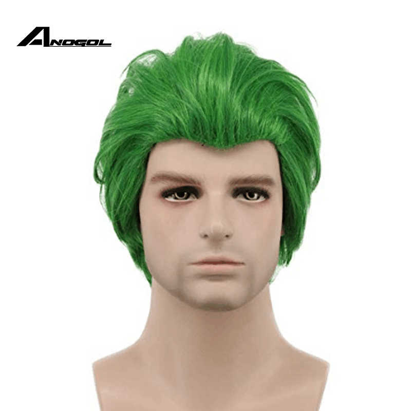 Anogol Suicide Squad The Dark Knight Batman the Joker Short Green Straight Synthetic Cosplay Wig For Halloween Party Role Play