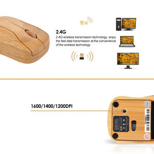 Image 3 - 2.4G Wireless Optical Bamboo Mouse 3 Adjustable DPI Computer Mouse with USB Receiver for Notebook PC Laptop Computer office use