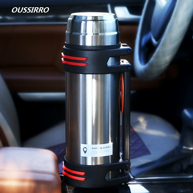 OUSSIRRO 304 Stainless Steel Fashion Thermos 2000ml Termos Coffee Vacuum Flasks Thermoses Outdoor Travel Thermos Bottle
