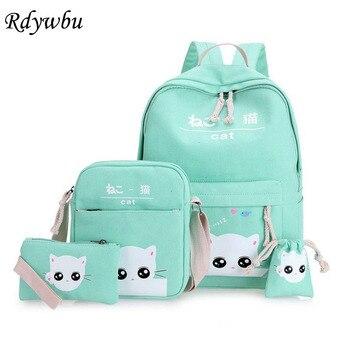 Rdywbu Japan Korean Cute Cat Printed Backpack Set Teenager Cartoon Canvas School Bag Purse Large Travel Rucksack Mochilas B295