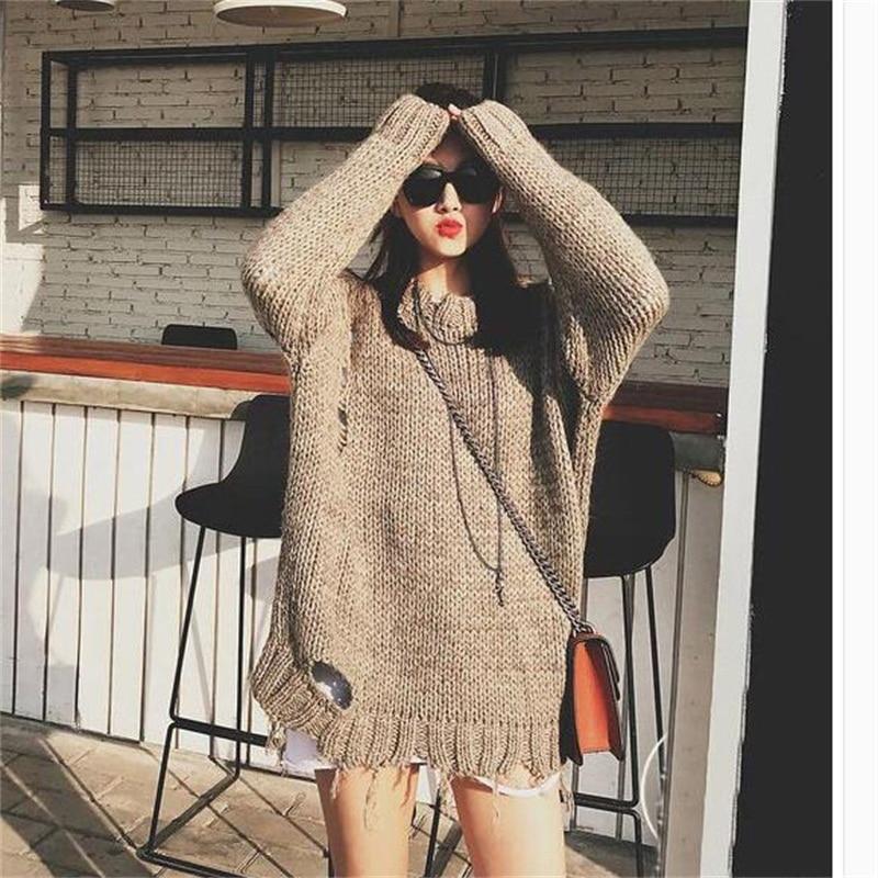 2019 automne et hiver mode femmes pull pull tricoté tissu O cou à manches longues solide épais coréen Long chandails hauts