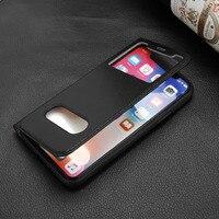 Cyboris جلد طبيعي متعددة الوظائف إطار عرض فليب حالة تغطية ل iphone × قف وظيفة لل iphonex 5.8