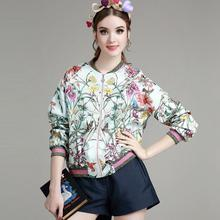 S-L New fashion flower print women jacket 2017 spring stand collar jacket colorful bomber jacket short design D1118