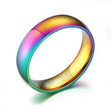 EKUSTYEE New Rainbow Colorful Rings for Women Trendy Cute Stainless Steel Wedding Ring Bands Jewelry Width 6mm