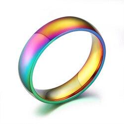 EKUSTYEE nowy Rainbow kolorowe pierścienie dla kobiet Trendy śliczne obrączka ze stali nierdzewnej opaski biżuteria szerokość 6mm