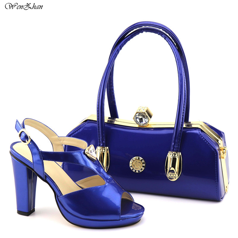Fashion shoes and bag sets royalblue PU leather African Ladies high heel shoes 11.4cm with matching party bag 38-43 C812-6