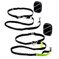 Green Black Dog Nylon Lead Leash Running Walking Jogging Fitness Harness Traction Reflective Belt Zipper Bag
