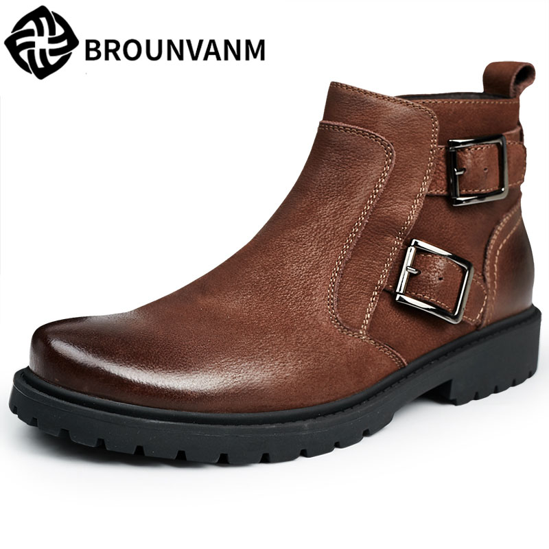 new autumn winter British retro men shoes Martin male British style high shoes men boots leather boots retro trend of Korean