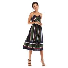 VZFF Summer Dress Elegant Slim V Neck Striped Colorblock Halter Chiffon Sling Sleeveless Modern Ladies Party Midi Dress