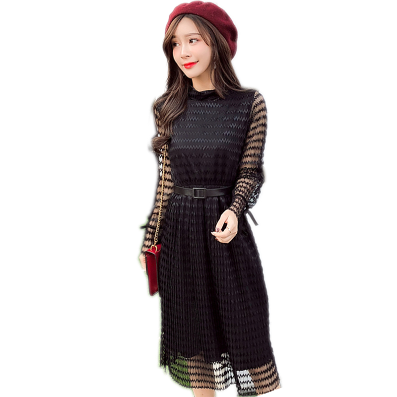 High quality 2018 new summer O Neck pleated lace transparent dress elegant belt bow beach party dress Vestidos YM160