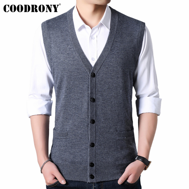 COODRONY Sweater Men Autumn Winter Warm Cashmere Wool Cardigan Men Classic Sleeveless V-Neck Mens Sweaters Cardigans Coats 91022