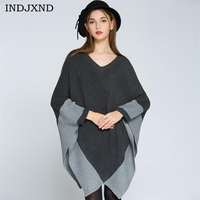 INDJXND Autumn Women V Collar Knitted Sweater Irregular Bat Shirt Loose Outerwear 2017 Patchwork Color Pullover Shawl Sweaters