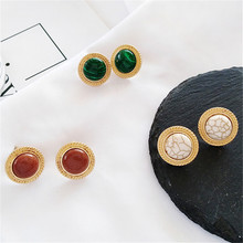 Marble grain stone inlaid metal circular earrings contracted vintage gem