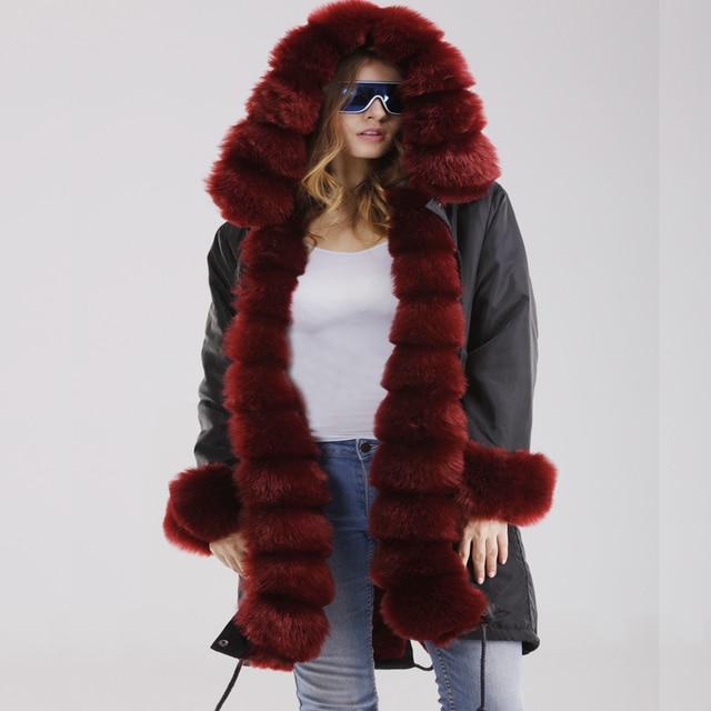 02af8795cfd US $54.57 |Roiii Winter Coat Warm Parka Burgundy Faux Fur Luxury Hood Fur  Liner Vintage High Waist Overcoat Female Thick 2018 Casual Jacket-in Parkas  ...