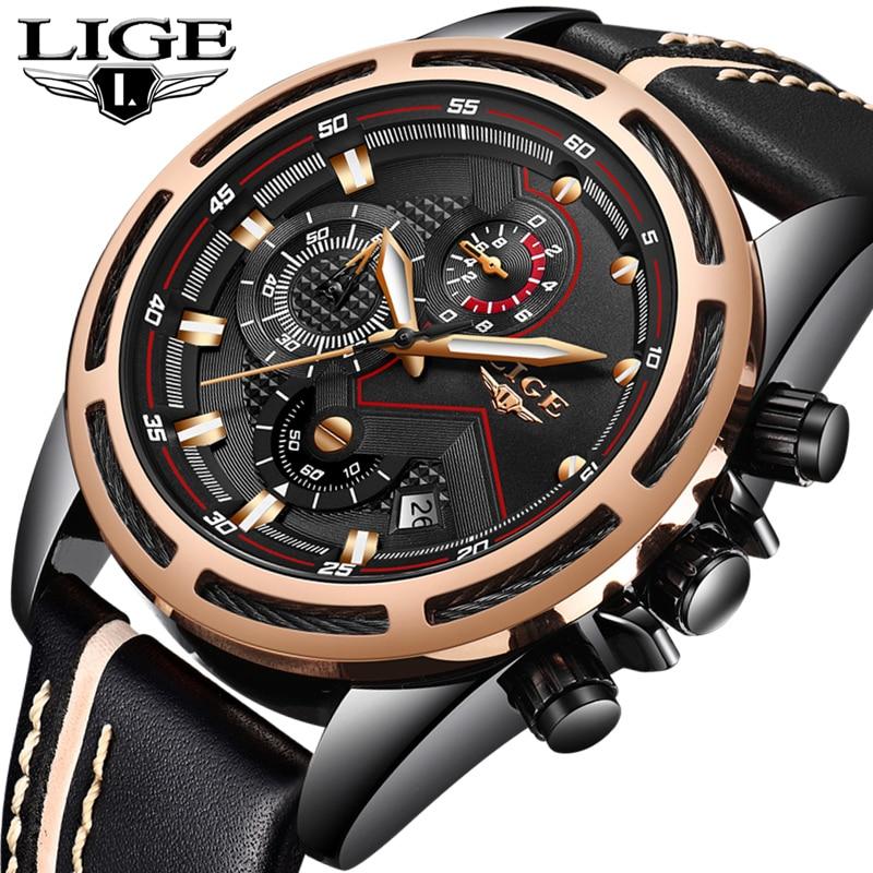 все цены на LIGE Mens Watches Top Brand Luxury Quartz Watch Men Fashion Sport Clock Leather Gold Waterproof Business Watch Relogio Masculino онлайн