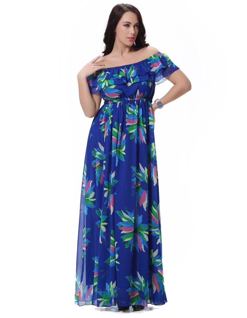 2017 Moda Mujer Chiffon Women Summer Dress Slash Neck Sleeveless Multi Wear Blue Printed Floral Long Maxi Dress Plus Size 6XL
