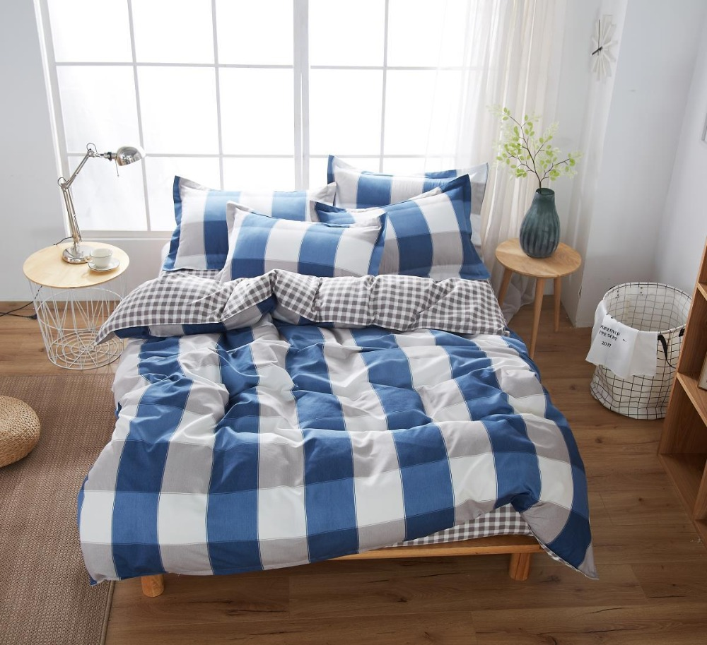 Cotton Home Textile Simple Autumn Plaid Flower Series Bed Linens 4pcs Bedding Sets Bed Set Duvet Cover Bed Sheet Mans Cover SetCotton Home Textile Simple Autumn Plaid Flower Series Bed Linens 4pcs Bedding Sets Bed Set Duvet Cover Bed Sheet Mans Cover Set