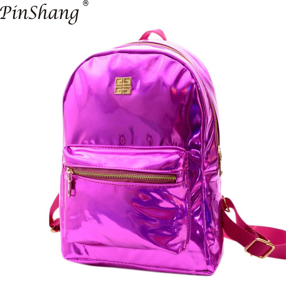 PinShang Women Backpack Leisure PU Bags Laser Backpack Large Capacity Brilliant Double Shoulder Bags for Women 2018 ZK40