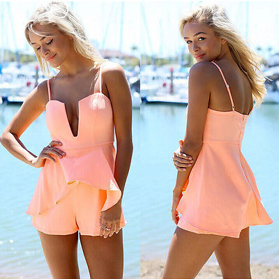 New Women Ladies V-Neck Playsuit Bodycon Clubwear Party Jumpsuit Romper