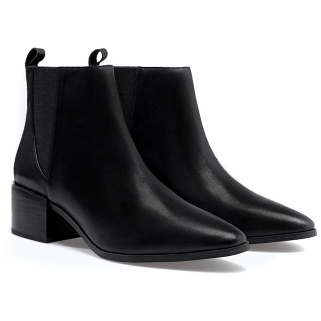 Women's Pointy Toe Low Heel Leather Chelsea Ankle Boots