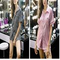 Nova Verão Mangas Curtas Pijamas Set Meninas Saquinho Segredo Conjunto de Cetim De Seda do Pijama Os Afterhours Mulheres Pijama De Cetim