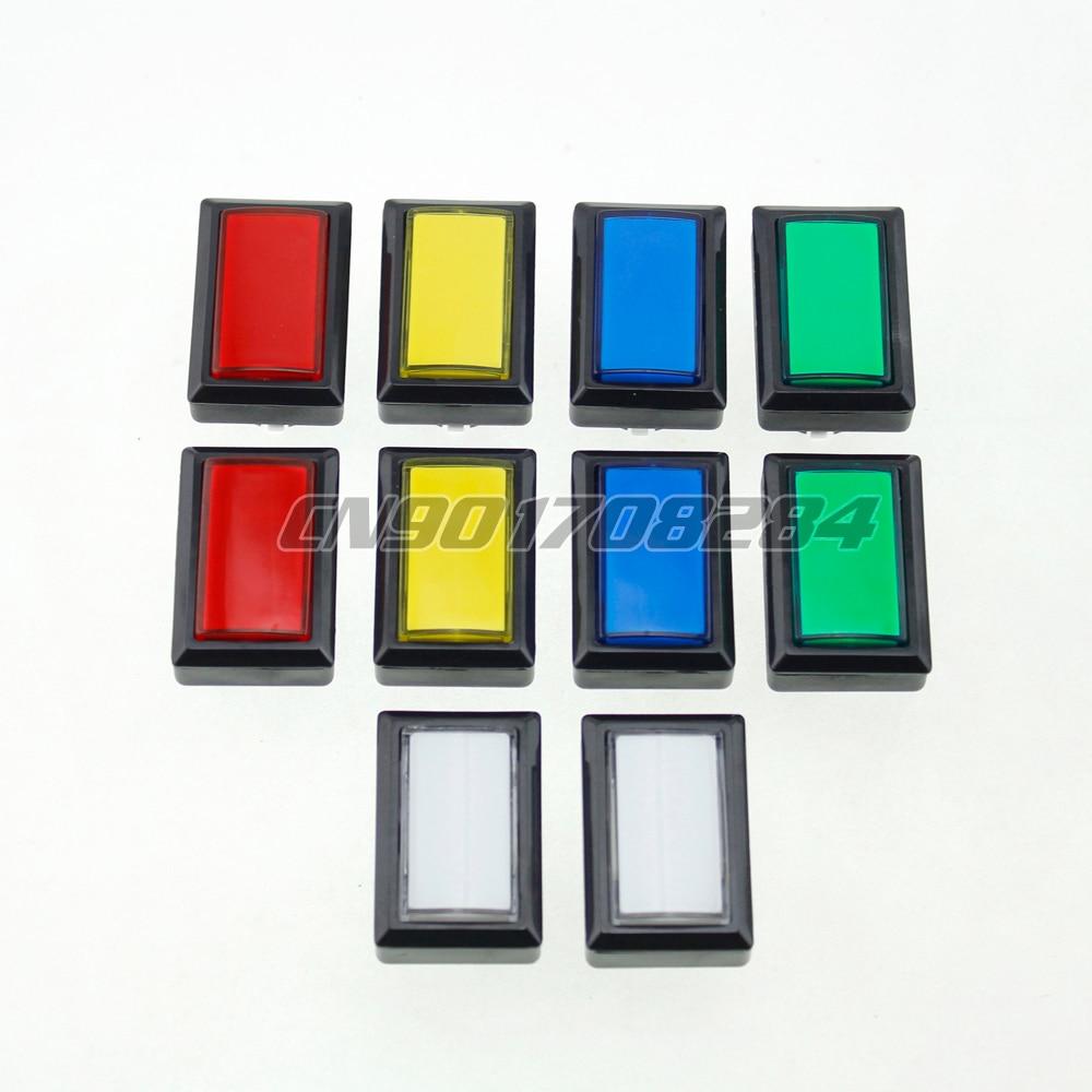 10x Beatmania IIDX Rectangle LED Light Illuminated Push Button Rectangular buttons For Arcade Coin Machine 50*33mm