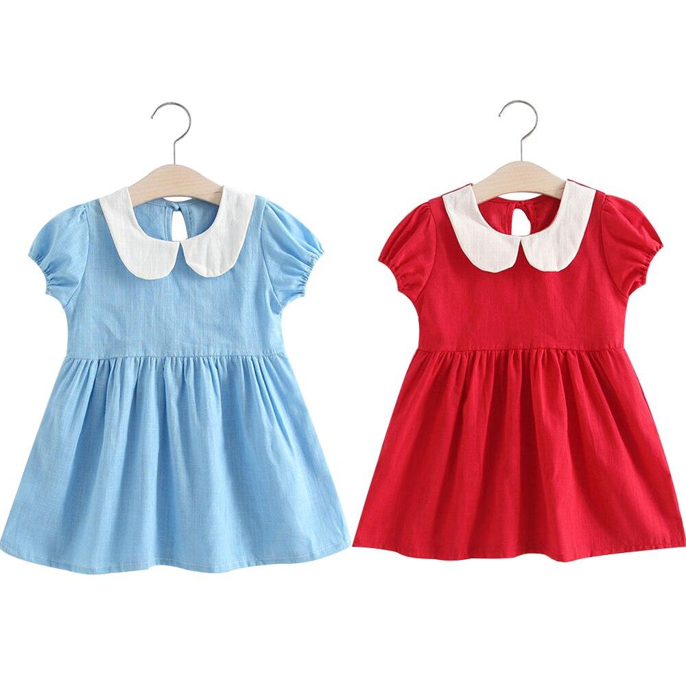 Neue Geboren Baby Mädchen Kleid & kleidung Sommer Kinder Party Geburtstag Outfits Puppe Kragen Puff Ärmeln Solid Color Mädchen Sommer kleid JSX