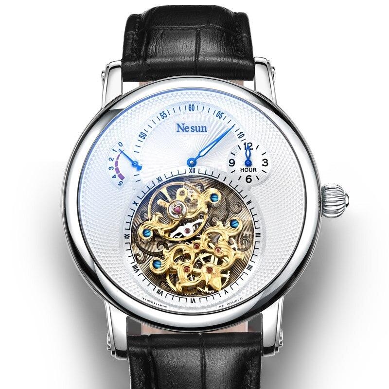 Повседневные Мужские автоматические механические наручные часы из натуральной кожи Tourbillon Hollow Hour Clock Switzerland мужские часы светящиеся 30 м