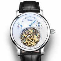 Casual Men's Automatic Mechanical Wrist Watch Genuine Leather Tourbillon Hollow Hour Clock Switzerland Men Watches Luminous 30M
