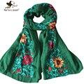 Japonés estilo étnico bordado bufandas y chales para mujeres moda diseño estilo artístico Bandana y Pashmina para las damas