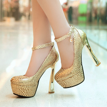Spring/Autumn Sexy women leopard shoes fashion Round Toe Ankle Strap platform silver high heels large size 32-44