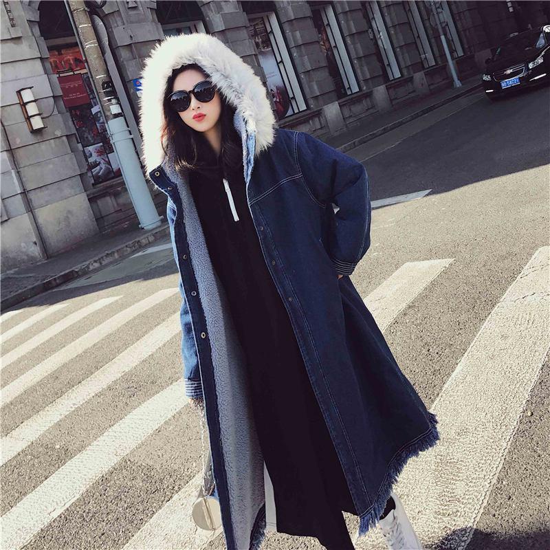 Femmes 2018 Noir À Vers Col Long Bas Femme bleu Mode Épaissir Veste Lambwool Fausse Chaud Coton Le Hiver Capuchon Fourrure Manteau En D48 Couleur Solide Parka qrwxC5q