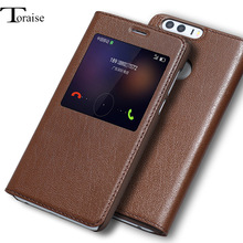 Luxury Genuine Leather Vintage Style Flip Cover Case For Huawei honor 8 Window View Smart Answer Coque Stand Phone Bag