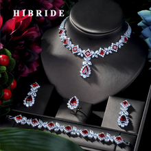 HIBRIDE Hotsale African 4pcs Bridal Jewelry Sets New Fashion Dubai Full Jewelry Set For Women Wedding Party Accessories N 314