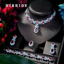 HIBRIDE Hotsale Afrikanische 4 stücke Braut Schmuck Sets Neue Mode Dubai Volle Schmuck Set Für Frauen Hochzeit Zubehör N 314
