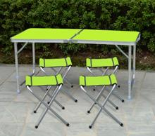 High quality 120*60cm Portable Folding Camping table Picnic Outdoor desk with 4pcs chairs & umbrella hole