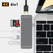 Newest USB C Hub To HDMI Splitter Adapter Type-C Hub Micro SD/TF Card Reader 4K Thunderbolt 3 for imac For Macbook Pro 2015-2018 цена