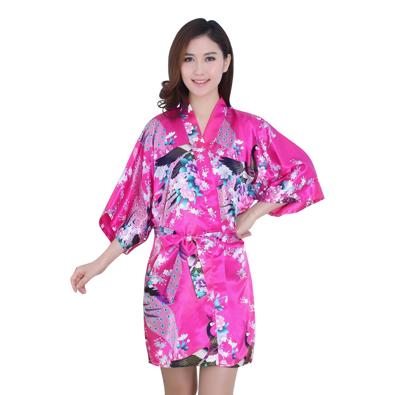 Women Sexy Vogue Peacock Printed Silk Loose Summer Nightwear V-Neck Dresses Robes Pajama ...