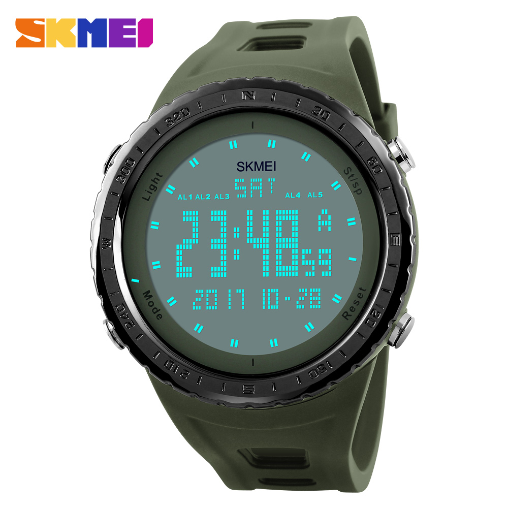 SKMEI Sports Watch Men Countdown Chrono Dubbel Tid EL Light Digital Armbandsur 50M Vattentät Klockor 1246 Relogio Masculino