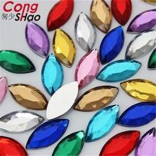 Конг Шао 200 шт. 9*20 мм маркиза Форма акрил со стразами аппликацией камешками и кристалл плоской задней одежда ремесла украшения CS301